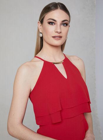 Kensie - Halter Neck Asymmetric Dress, Red, hi-res,  Spring 2019, cocktail dress, crepe, halter neck, sleeveless