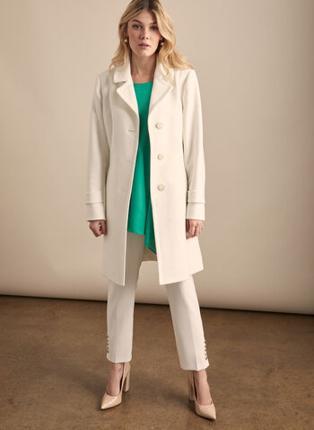 Novelti - Notch Collar Belted Trench Coat, White,  coat, trench, belted, button front, notch collar, spring summer 2020