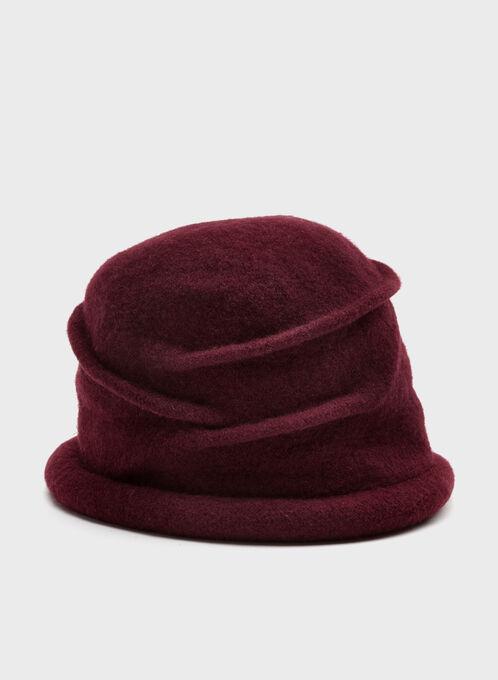 Tuque tricot en laine plissée et retroussée, Rouge, hi-res