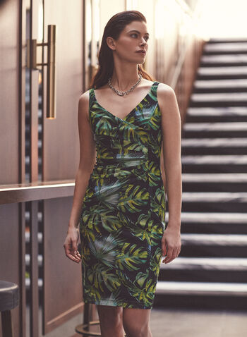 Joseph Ribkoff - Palm Leaf Print Dress, Black,  dress, day, palm leaf print, sheath, ruched, twist, crossover, v-neck, sleeveless, jersey, ribkoff, lyman, spring summer 2021