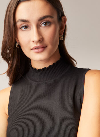 Mock Neck Sleeveless Sweater, Black,  sweater, sleeveless, ribbed knit, mock neck, fall winter 2020