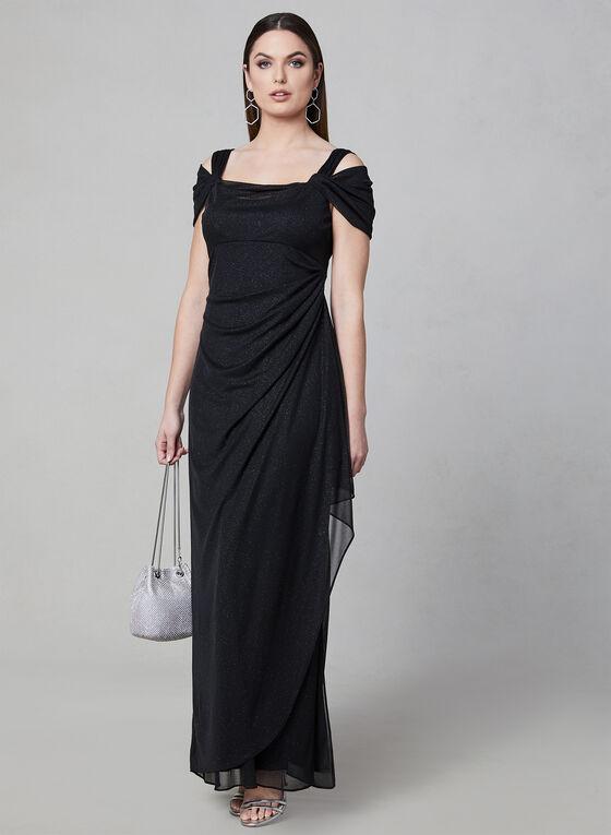 Alex Evenings - Robe drapée à brillants, Noir
