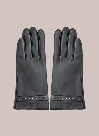 Gants en cuir à détails cloutés, Noir,  automne hiver 2020, gants, accessoire