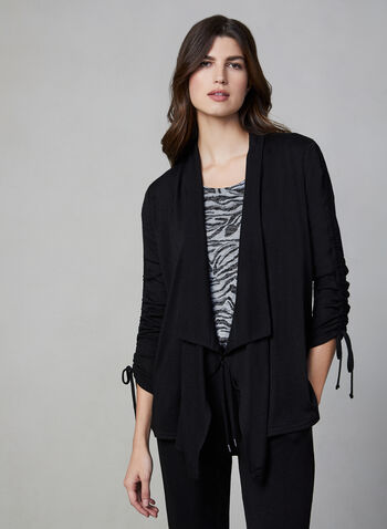 Vince Camuto - Open Front Top, Black, hi-res,  top, long sleeves, open front, shawl collar, fall 2019, winter 2019