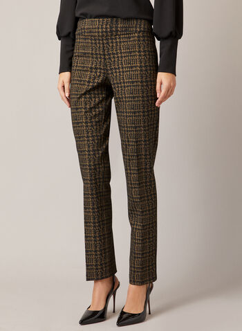 Slim Leg Madison Pants, Black,  fall winter 2020, pants, slim leg, houndstooth print, elastic waist, ponte di Roma