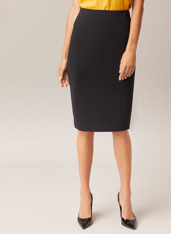 Pull-On Pencil Skirt, Black,  skirt, pencil, ponte di roma, slit, pull-on, fall winter 2020