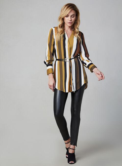 Stripe Print Tunic Blouse, Brown, hi-res