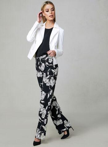 Pantalon fleuri à jambe large, Noir, hi-res