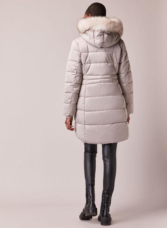 Tahari - Faux Fur Trim Quilted Coat, Silver