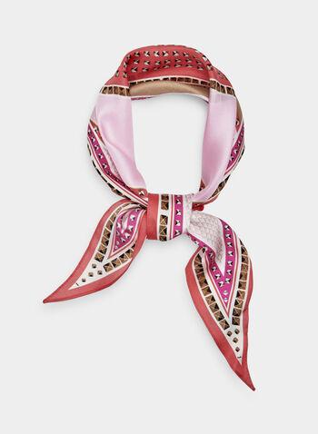 Foulard en soie à motif géométrique, Rose, hi-res
