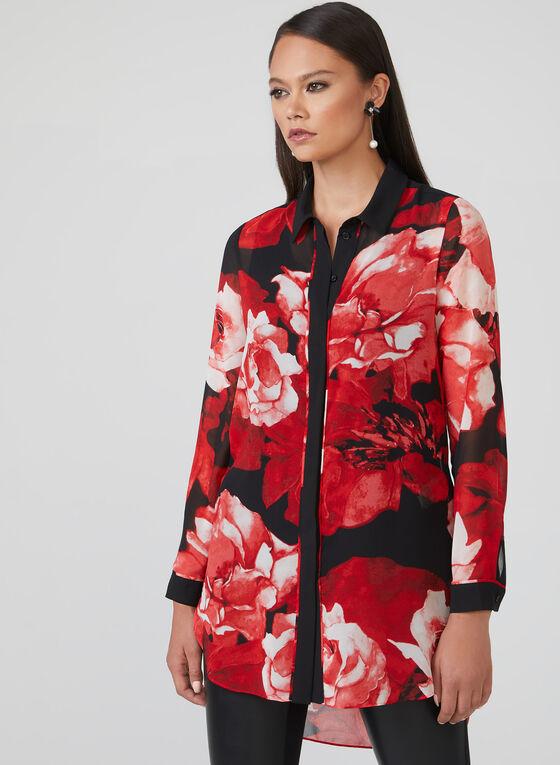 Tunique en mousseline fleurie à manches longues, Rouge, hi-res