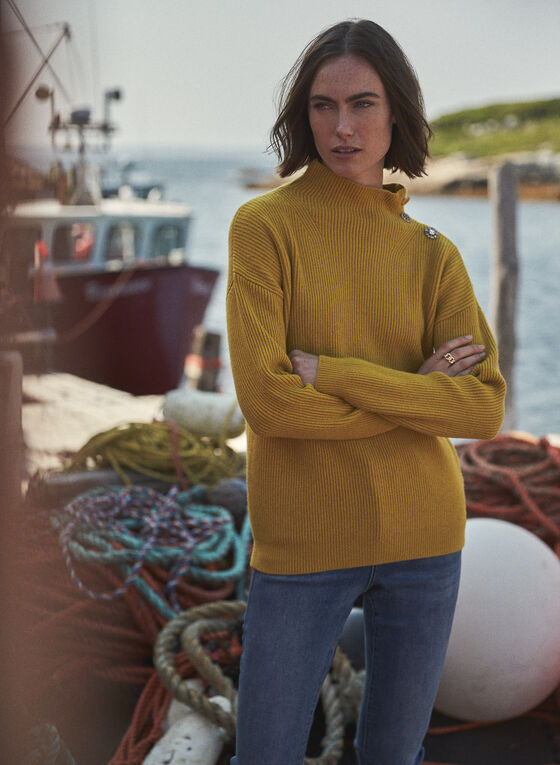 Button Detail Mock Neck Sweater, Yellow