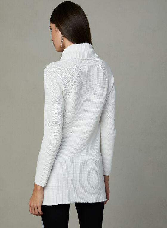 Knit Cowl Neck Tunic, Off White, hi-res