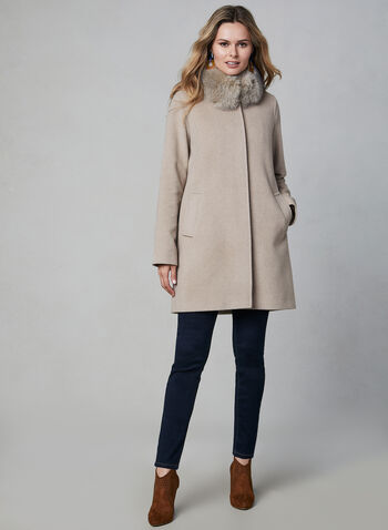 Mallia - Wool Blend Coat, Off White,  wool coat, Mallia, fox fur, wool, cashmere, long sleeves, welt pockets, straight cut, fall 2019, winter 2019