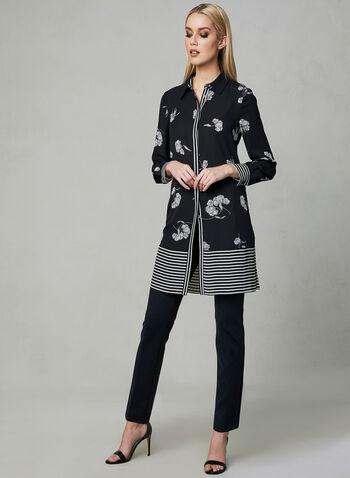 Floral Print Duster Blouse, Black, hi-res