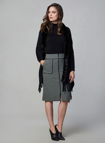 Houndstooth Print Pencil Skirt, Green,  zipper, faux leather, pockets, midi skirt, fall 2019, winter 2019