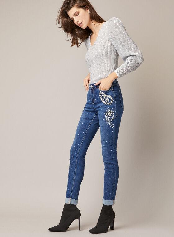 Embellished Rhinestone Slim Leg Jeans, Blue