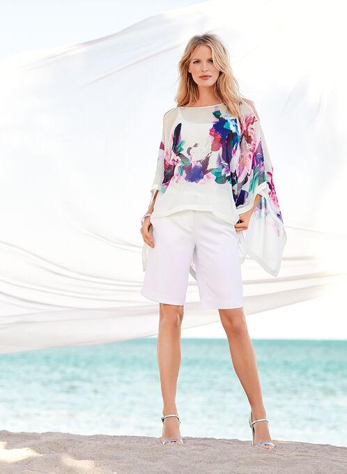 Floral Print Cold Shoulder Poncho Blouse, Purple, hi-res