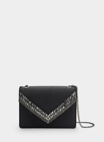 Satin Envelope Clutch, Black, hi-res