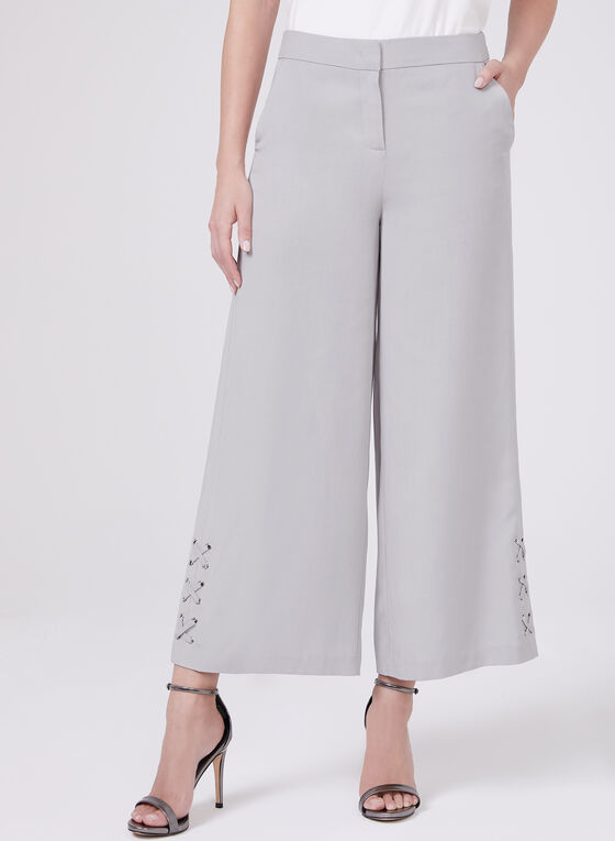 Lace Up Detail Culottes, Silver, hi-res