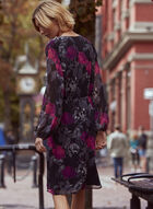 Robe à motif floral et manches ballon , Noir