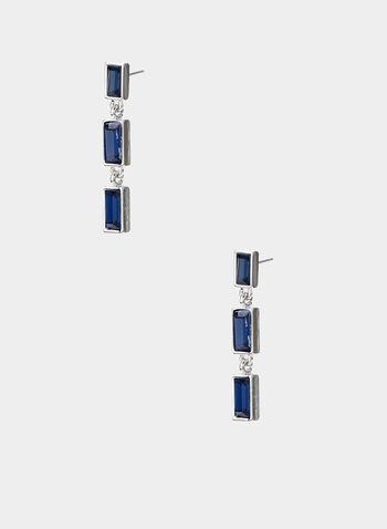 Rectangular Dangle Earrings, Blue,  dangle earrings, 3 tier rectangular stones, linear, fall 2019