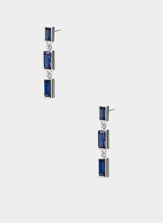 Rectangular Dangle Earrings, Blue