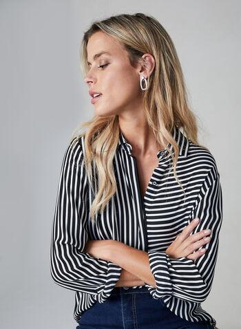 Stripe Print Blouse, Black,  blouse, stripe print, button down, fall 2019, winter 2019