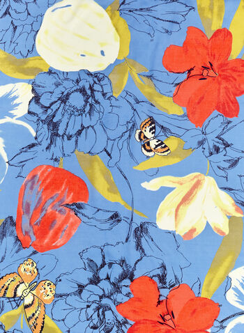 Vince Camuto - Flower & Butterfly Print Scarf, Blue, hi-res