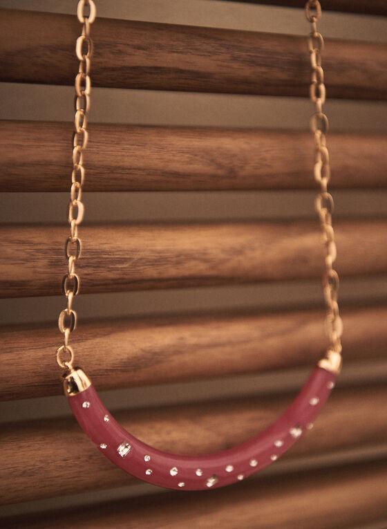Crystal Half Moon Resin Necklace, Pink