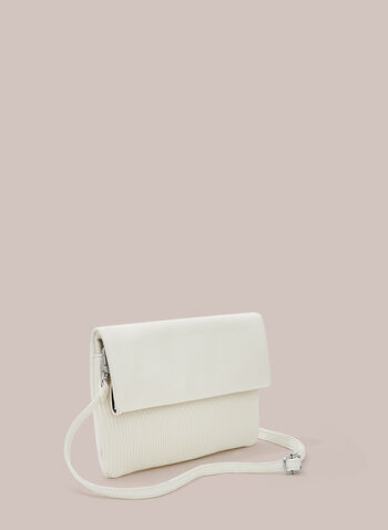 Pleated Detail Faux Leather Clutch, White,  clutch, faux leather, pleated, flap, spring summer 2020