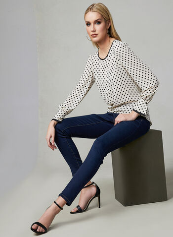Polka Dot Print Blouse, White, hi-res