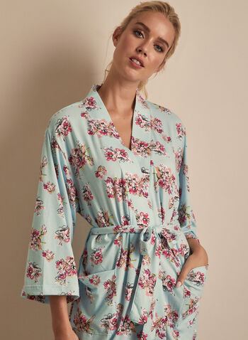 Comfort & Co. - Floral Print Robe, Blue,  sleepwear, robe, floral, stretchy, pockets, spring summer 2020
