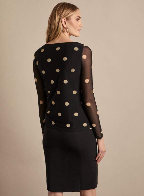 Polka Dot Print Mesh Top, Black