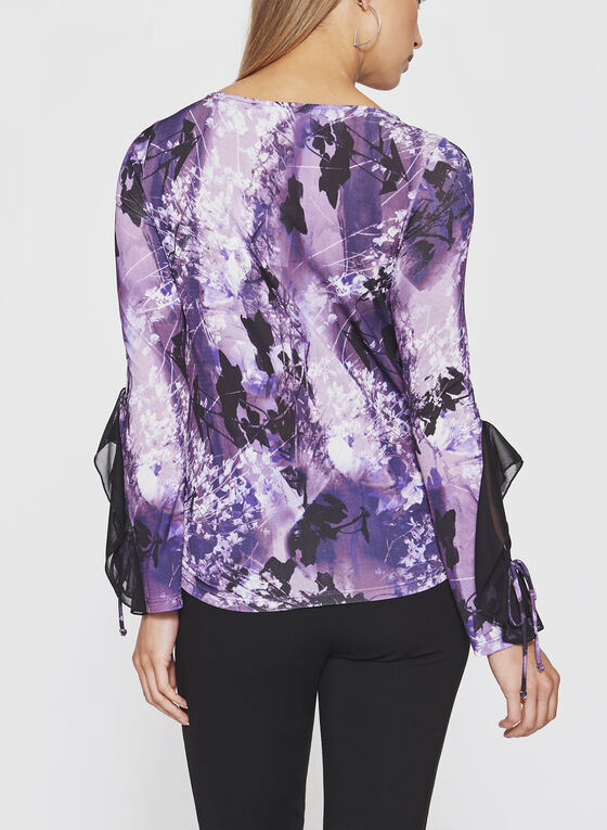 Long Sleeve top Cut & Sew, Purple, hi-res