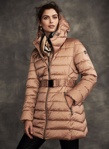 Tahari - Quilted Coat With Hood, Brown,  fall winter 2020, tahari, coat, quilted, hood, bib