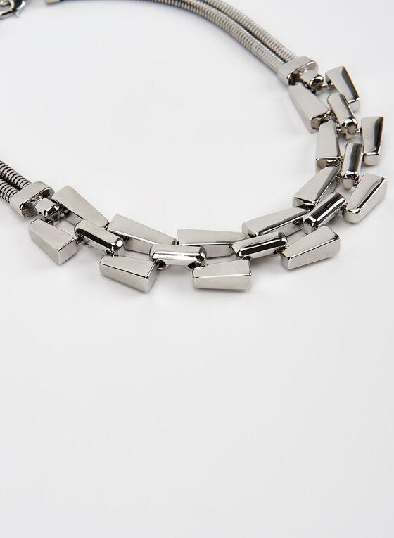 Collier à double chaîne serpent et détails métallisés, Argent