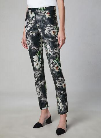 Joseph Ribkoff - Floral Print Slim Leg Pants, Black, hi-res,  floral print pants