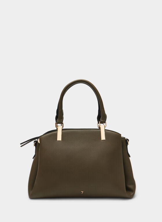 Faux Leather Satchel, Green