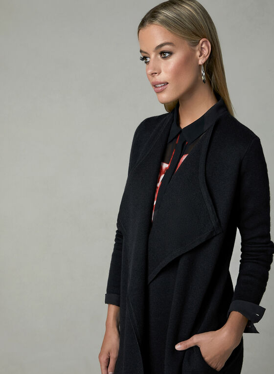Shawl Collar Open Front Cardigan, Black, hi-res