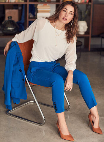 Slim Leg Giselle Pants, Blue,  spring summer 2021, slim leg, Giselle fit, high-rise, button details,