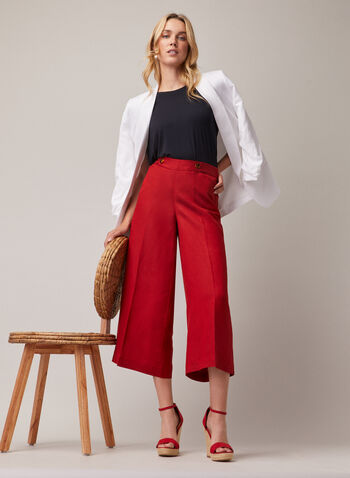 Linen Gaucho Pants, Orange,  pants, gaucho, wide leg, linen, spring summer 2020
