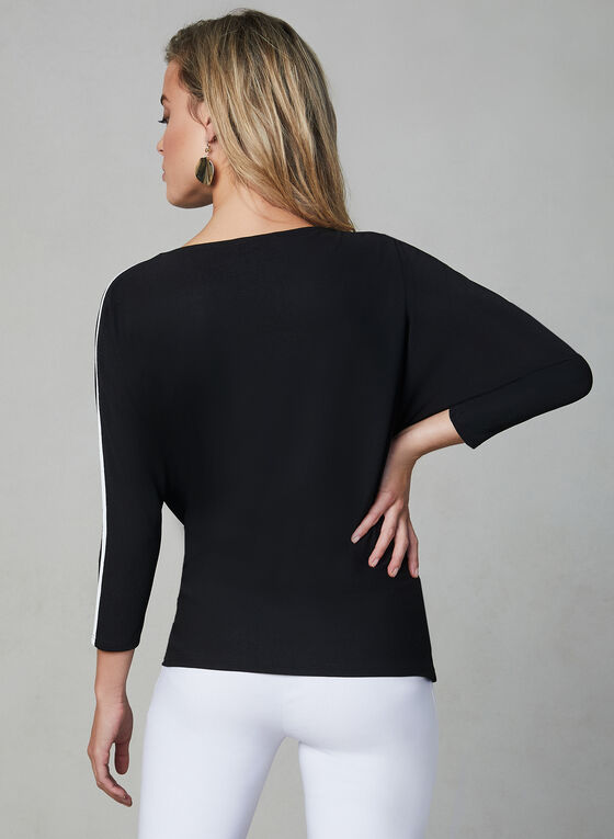 Contrast Piping Crepe Top, Black