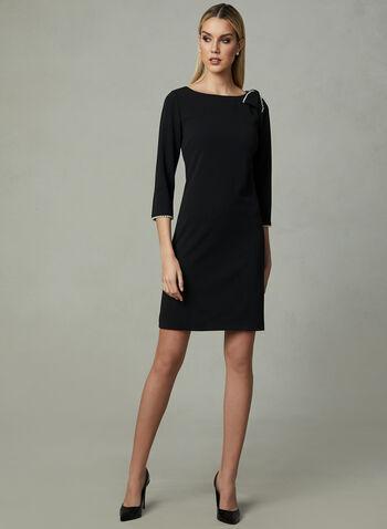 Karl Lagerfeld Paris - Pearl Trim Dress, Black, hi-res,