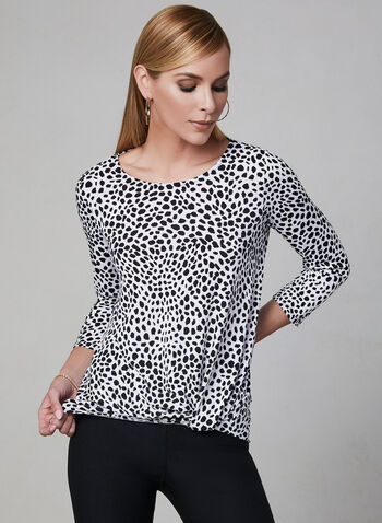 Pebble Print Tie Detail Top, White, hi-res,  ¾ sleeves, 3/4 sleeves, jersey, spring 2019
