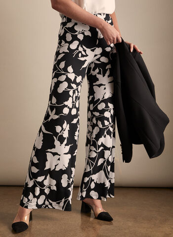 Floral Print Wide Leg Pants, Black,  Spring summer 2020, pull-on, wide leg, palazzo, jersey fabric
