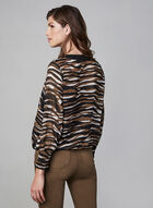 Stripe Print V-Neck Blouse , Brown, hi-res