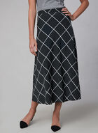 Window Pane Print Skirt, Black, hi-res