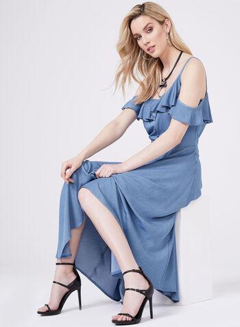 Frank Lyman - Cold Shoulder Asymmetric Dress, Blue, hi-res