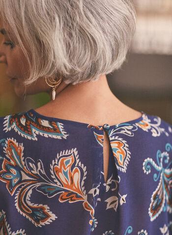 Haut à motif cachemire avec ruché , Bleu,  printemps été 2021, blouse, mousseline, haut, manches longues, motif cachemire, paisley, ruché, ouverture au dos, noeud